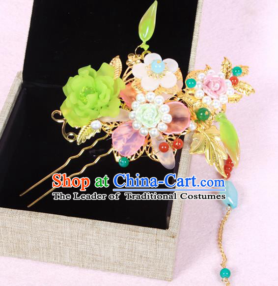 Chinese Ancient Hair Accessories Hanfu Hairpins Traditional Flowers Hair Clip Headwear for Women