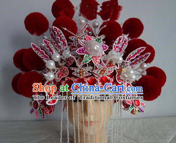 Chinese Traditional Phoenix Coronet Hair Accessories Classical Dance Beijing Opera Actress Headwear for Women