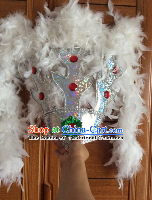 Traditional Samba Dance Hair Accessories Brazilian Carnival White Feather Headdress Headwear for Women