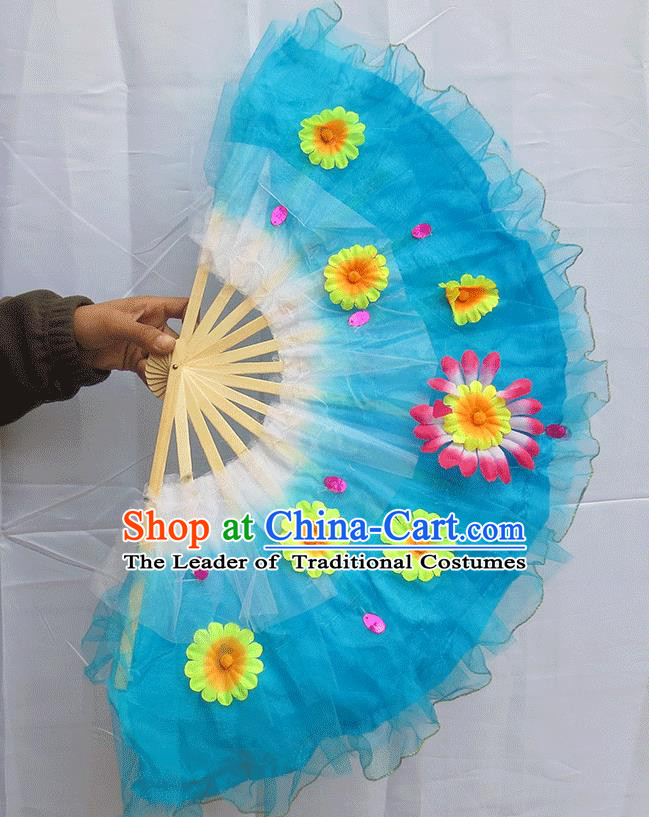 Chinese Traditional Folk Dance Folding Fans Classical Yangko Dance Blue Silk Fans for Women