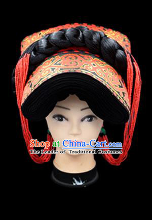 Chinese Traditional Yi Nationality Hair Accessories Yi Ethnic Minority Hats Headwear for Women