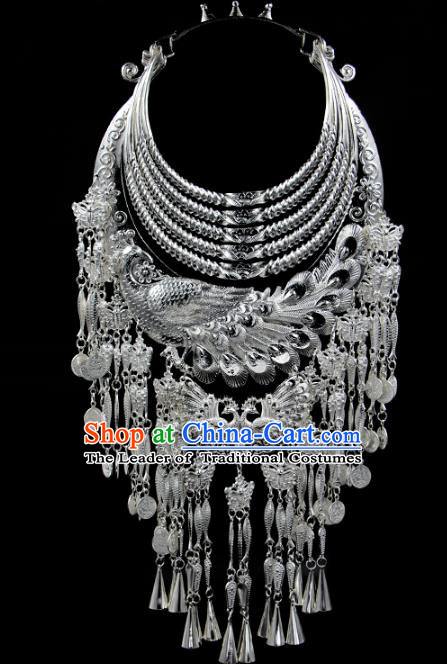 Chinese Traditional Miao Nationality Accessories Sliver Phoenix Necklace, Hmong Ethnic Female Tassel Necklet for Women