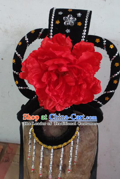 Chinese Traditional Beijing Opera Hair Accessories Classical Dance Red Peony Headwear for Women