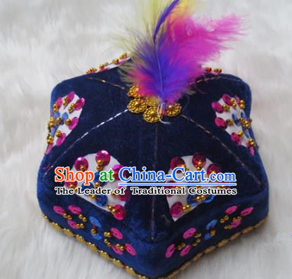 Chinese Traditional Folk Dance Hair Accessories Uyghur Nationality Dance Headwear Blue Hats for Men