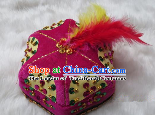 Chinese Traditional Folk Dance Hair Accessories Uyghur Nationality Dance Headwear Rosy Hats for Men