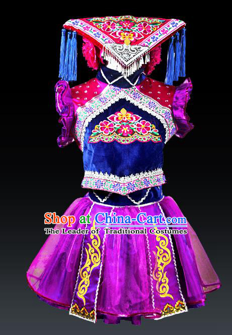 Traditional Chinese Tujia Nationality Dance Costume and Headwear, Hmong Female Ethnic Pleated Skirt Minority Embroidery Clothing for Women