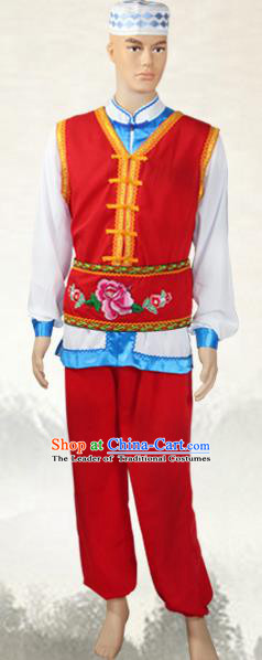 Traditional Chinese Baoan National Minority Costumes, China Ethnic Minority Embroidery Clothing for Men
