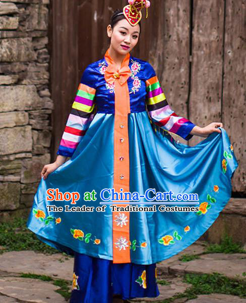 Traditional Chinese Korean Nationality Dance Costume and Headwear, Koreans Ethnic Pleated Skirt Minority Embroidery Clothing for Women