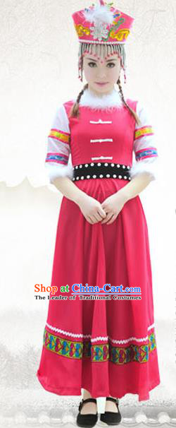Traditional Chinese Xibe Nationality Dance Costume, China Ethnic Minority Clothing and Headdress for Women