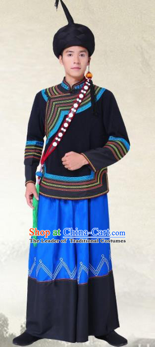 Traditional Chinese Yi National Minority Costumes, China Torch Festival Ethnic Minority Embroidery Clothing for Men