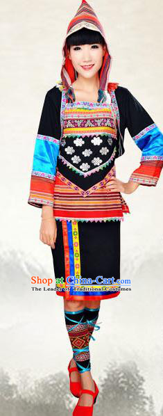 Traditional Chinese Jino Nationality Costume, China Jino Ethnic Minority Dance Clothing and Hats for Women