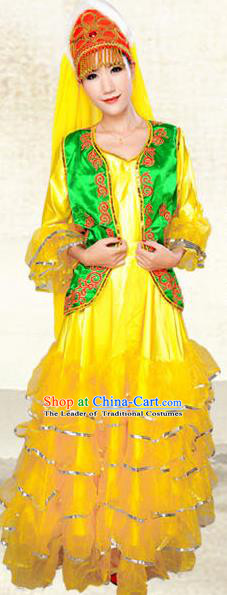 Traditional Chinese Kazak Nationality Costume, China Kazak Ethnic Minority Dance Clothing and Hats for Women