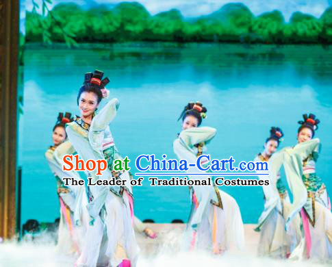 Traditional Chinese Folk Dance Embroidered Costume, China Classical Dance Fairy Clothing for Women