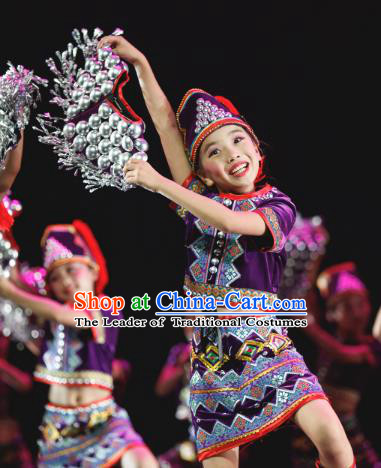 Traditional Chinese Folk Dance Ethnic Costume, Children Classical Dance Butterfly Dress Clothing for Kids