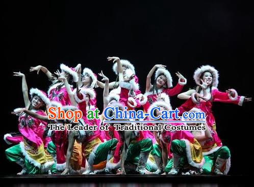 Traditional Chinese Folk Dance Embroidered Costume, China Mongolian Ethnic Minority Dance Clothing for Women