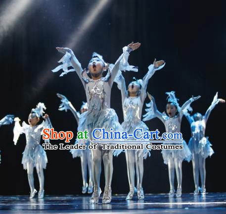 Traditional Chinese Eagle Dance Folk Dance Costume, Children Classical Dance Dress Clothing for Kids