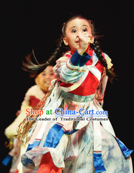 Traditional Chinese Nationality Folk Dance Costume, Children Classical Dance Dress Clothing for Kids