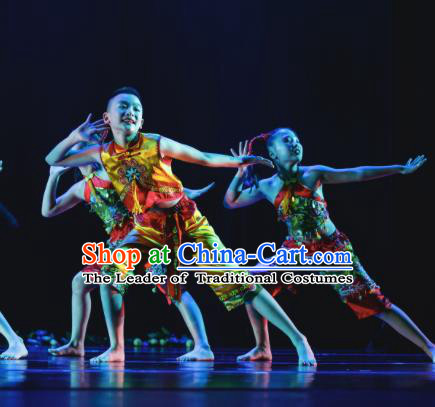 Traditional Chinese New Year Folk Dance Costume, Children Classical Dance Yangge Clothing for Kids