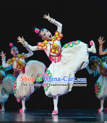 Traditional Chinese New Year Folk Dance Dress Costume, Children Classical Dance Yangge Clothing for Kids