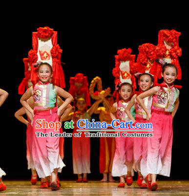 Chinese Traditional Folk Dance Costume, Children Classical Dance Clothing for Kids