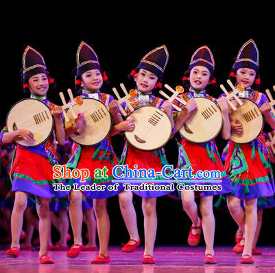 Chinese Traditional Folk Dance Costume, Children National Minority Classical Dance Clothing for Kids