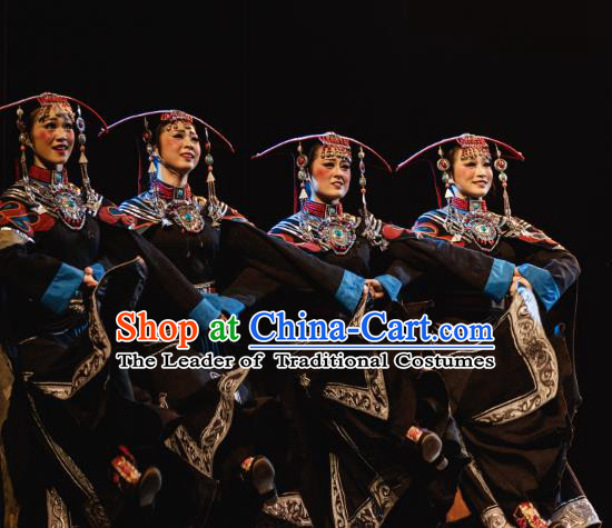 Traditional Chinese Folk Dance Embroidered Costume, China Yi Ethnic Minority Dance Clothing for Women