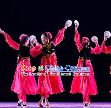 Chinese Traditional Folk Dance Ethnic Costume, Children Uyghur National Minority Classical Dance Clothing for Kids