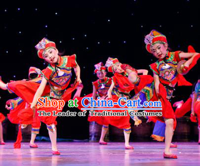 Chinese Traditional Folk Cymbals Dance Ethnic Costume, Children National Minority Classical Dance Clothing for Kids