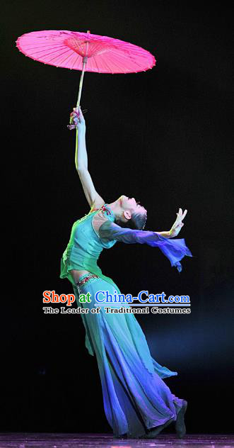 Traditional Chinese Folk Dance Yangko Dance Costume, China Classical Dance Blue Dress Clothing for Women