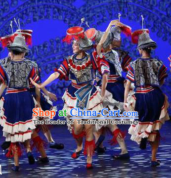 Traditional Chinese Folk Dance Ethnic Costume, China National Minority Dance Dress Clothing for Women