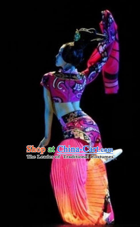 Traditional Chinese Classical Dance Costume, China Folk Dance Stage Performance Dance Dress Clothing for Women