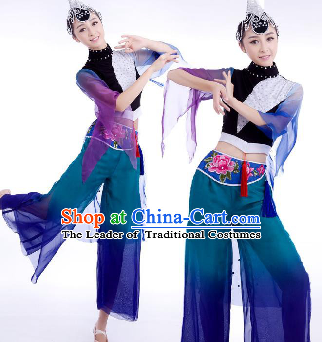 Chinese Traditional Folk Dance Stage Performance Costume, China Classical Yangko Dance Dress Clothing for Women
