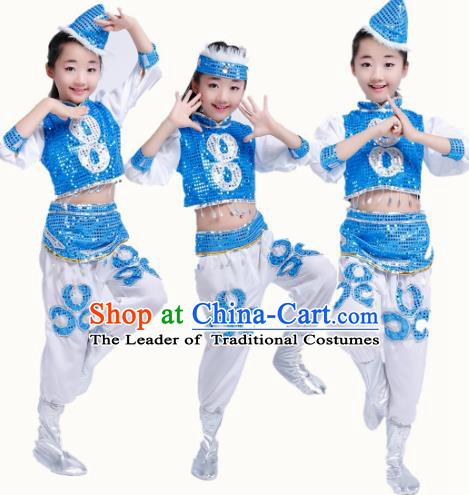 Chinese Traditional Folk Dance Stage Performance Costume, China Mongol Nationality Dance Clothing for Children