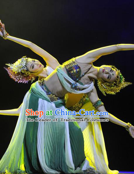 Chinese Traditional Folk Dance Classical Dance Stage Performance Costume, China Ethnic Minority Clothing for Women