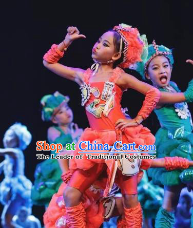 Chinese Traditional Stage Performance Costume, China Nationality Folk Dance Clothing for Children