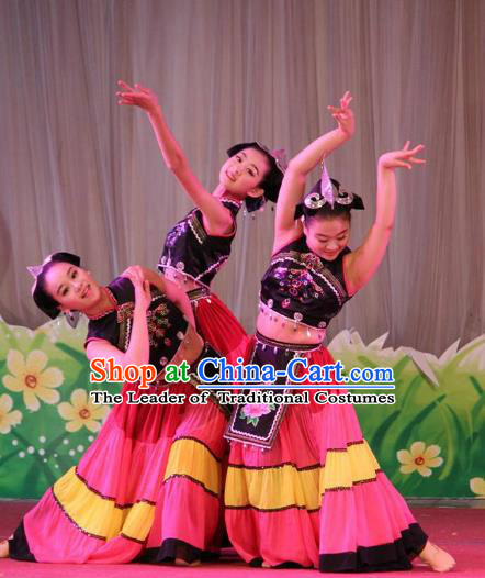 Chinese Traditional Yi Ethnic Stage Performance Costume, China Nationality Folk Dance Clothing for Children