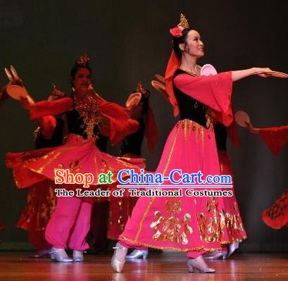 Chinese Traditional Folk Dance Classical Dance Stage Performance Costume, China Uyghur Nationality Dance Clothing for Women