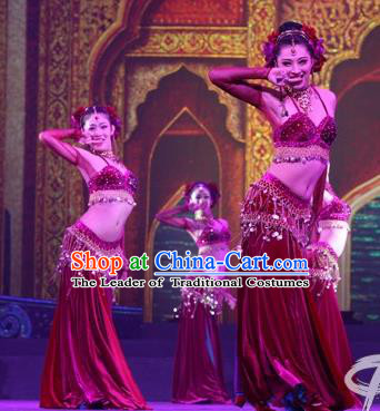 Chinese Traditional Folk Dance Costume, Classical Dance Dress Arabian Dance Stage Performance Clothing for Women
