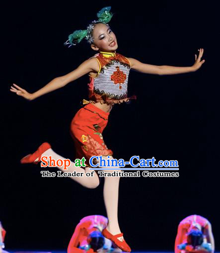 Chinese Traditional Yangge Stage Performance Green Costume, China Folk Dance Yangko Dance Clothing for Children