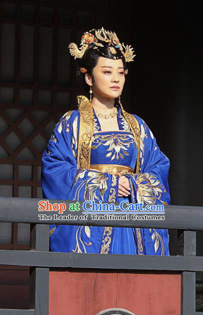 Nirvana in Fire II Chinese Ancient Palace Queen Hanfu Dress Empress Embroidered Historical Costumes and Headpiece Complete Set