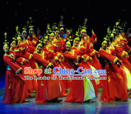 Traditional Chinese Ancient Dance Costume, China Folk Dance Classical Dance Hanfu Embroidery Clothing for Women
