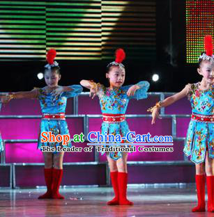 Chinese Traditional Ethnic Dance Stage Performance Costume, China Folk Dance Dress for Children