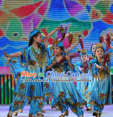 Chinese Traditional Uyghur Nationality Dance Stage Performance Costume, China Folk Dance Dress for Children