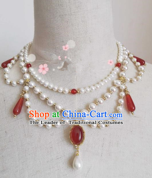 Chinese Traditional Ancient Accessories Classical Red Agate Necklace Hanfu Handmade Necklet for Women
