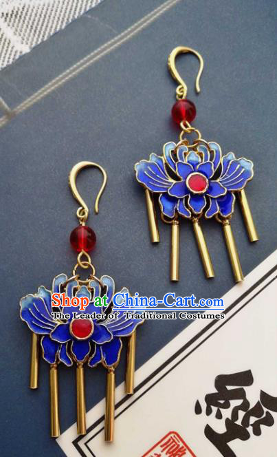Chinese Traditional Ancient Accessories Classical Blueing Lotus Earrings Hanfu Eardrop for Women