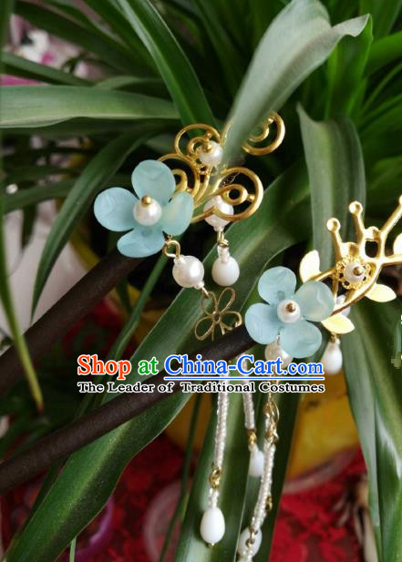 Chinese Traditional Ancient Hair Accessories Classical Blue Flower Hair Clip Hanfu Hairpins for Women