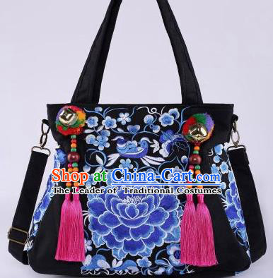Chinese Traditional Embroidery Craft Embroidered Blue Peony Bags Handmade Handbag for Women
