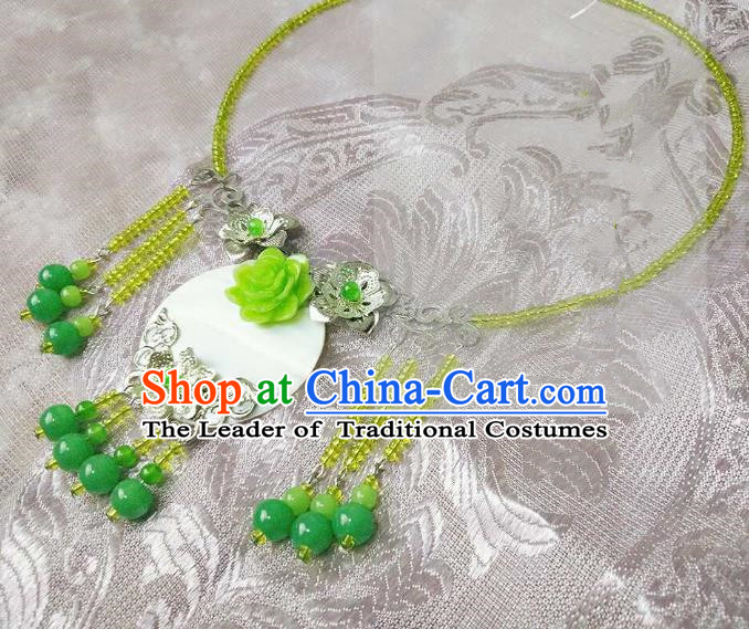 Chinese Traditional Ancient Accessories Classical Green Beads Tassel Necklace Hanfu Necklet for Women