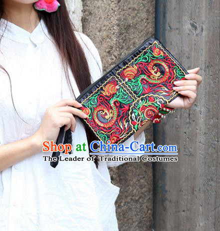 Chinese Traditional Embroidery Dragons Craft Embroidered Black Purse Handmade Handbag for Women