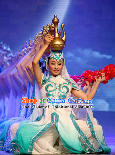 Traditional Chinese Hui Nationality Dance Costume, China Folk Dance Classical Dance Clothing for Women